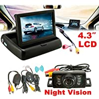 CHAMPLED Car Wireless IR Rearview Backup Reversing Camera Kit Foldable LCD 4.3 Inch Monitor FORD CHRYSLER CHEVY CHEVROLET DODGE CADILLAC JEEP GMC PONTIAC HUMMER LINCOLN BUICK