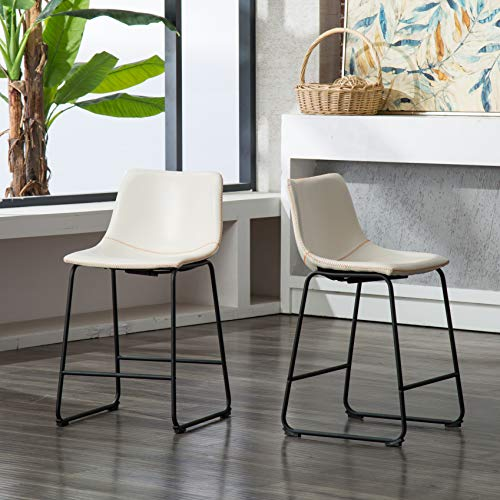 (Roundhill Furniture PC185WH Lotusville Vintage PU Leather Counter Height Stools, Set of 2, White)