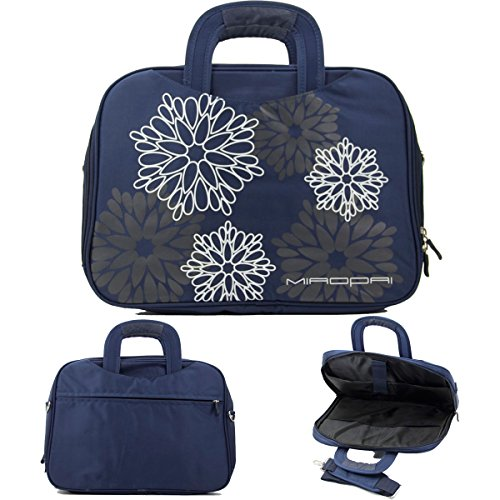 Navy  14In Nylon Floral Print Laptop Case With Shoulder Strap Fits Asus K40 14  Series  K40ij  K40in  K42 14  Series  K42f  K42jc  K42jr  N43 14  Series Nuvur153