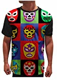 On Cue Apparel Lucha Libre T-Shirt - All Over Print Graphic Rave Shirts - X-Large