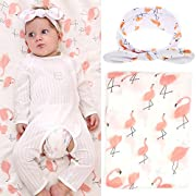 Baby Muslin Swaddle Blankets and Headband Set Baby Cotton Swaddle Wrap Stroller Cover Receiving Blanket (Set B - Flamingo)
