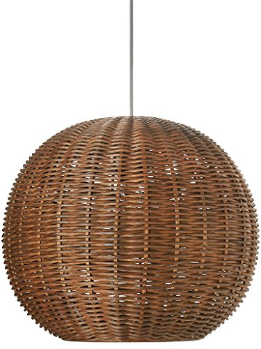 - KOUBOO Wicker Ball Pendant Light, Rustic Brown
