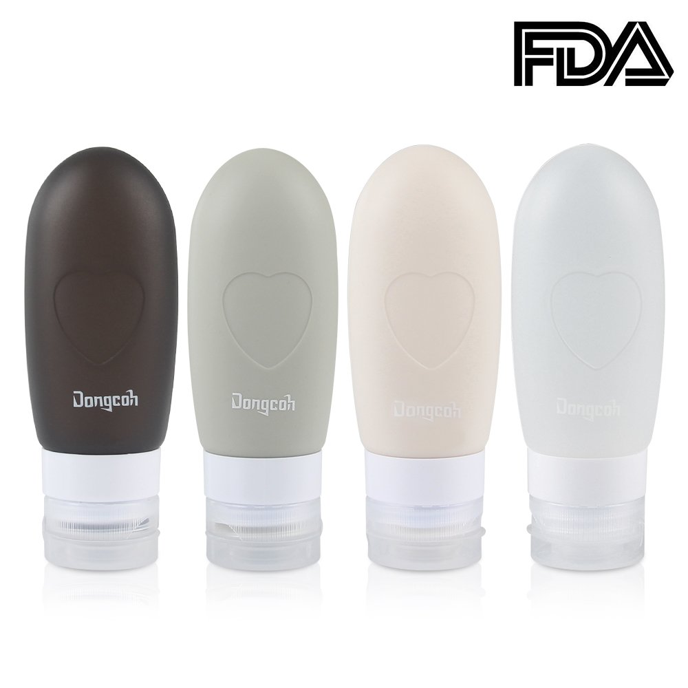 Travel Bottle Accessories, Dongcoh Leak Proof Food Grade Silicone Refillable Trip Containers for shampoo, conditioner, toner, lotion, cleansing soap, etc (3oz, 4 pack)