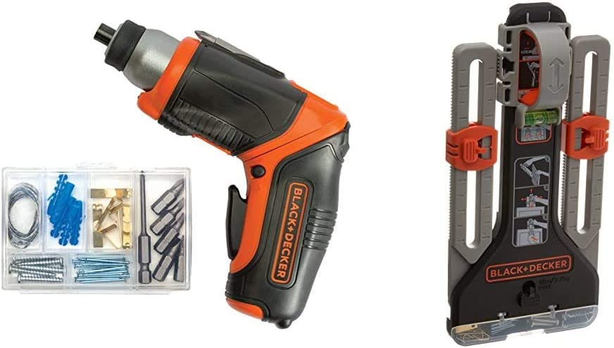 BLACK+DECKER 4V MAX Cordless Screwdriver, Rechargeable with MarkIT Picture Hanging Kit (BDCS40BI & BDMKIT101C)