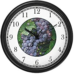 Still Life: Purple Grapes (JP6) Wall Clock by WatchBuddy Timepieces (Hunter Green Frame)
