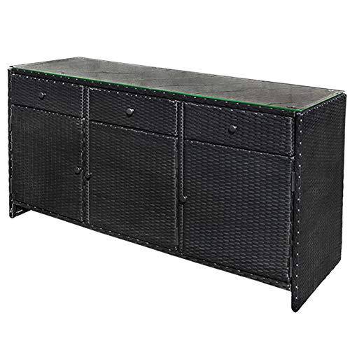 DBM IMPORTS Black Outdoor/Indoor 3 Drawers Wicker Rattan Storage Cabinet Buffet Counter