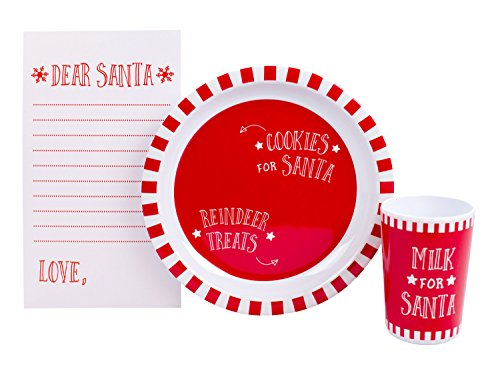 - Tiny Ideas Santa's Cookies, Holiday Cookie Dish and Cup Gift Set, Red