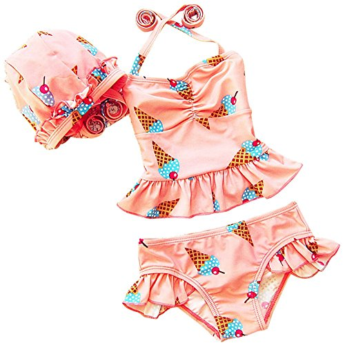 DQdq Little Girls 3 Piece Bikini Set Beach Wear with Hat Ice Cream Pink 3T