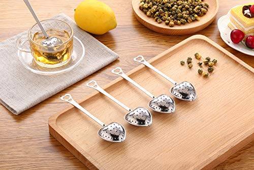 Tea Filter Long Grip Stainless Steel Mesh Heart Shaped Tea Strainer Spoon, Set of 10 Tea Infuser Spoon by WYOK (Image #6)