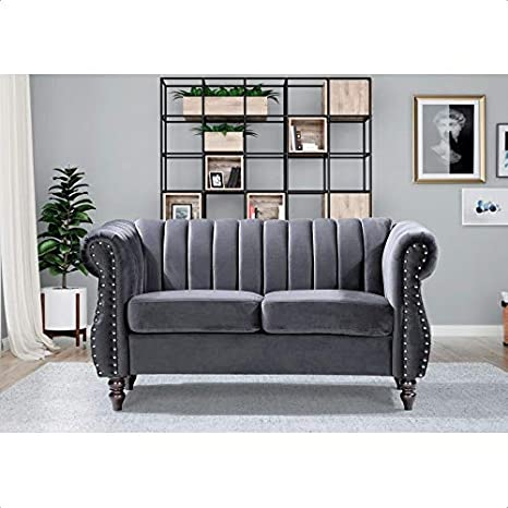 Amazon Com Capri Velvet Chesterfield 42 5 Rolled Arm Loveseat Kitchen Dining