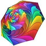 Artsadd Custom Rain Anti UV Foldable Psychedelic Rainbow Spiral Umbrella