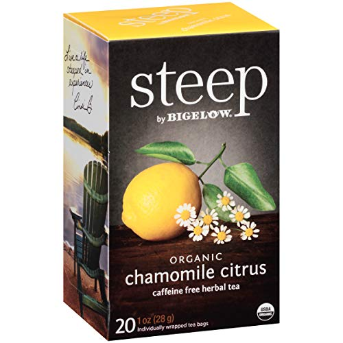 (Steep by Bigelow Organic Chamomile Citrus Herbal Tea 20 Count (Pack of 6) Caffeine-Free Individual Herbal Tisane Bags, for Hot Tea or Iced Tea, Drink Plain or Sweetened with Honey)