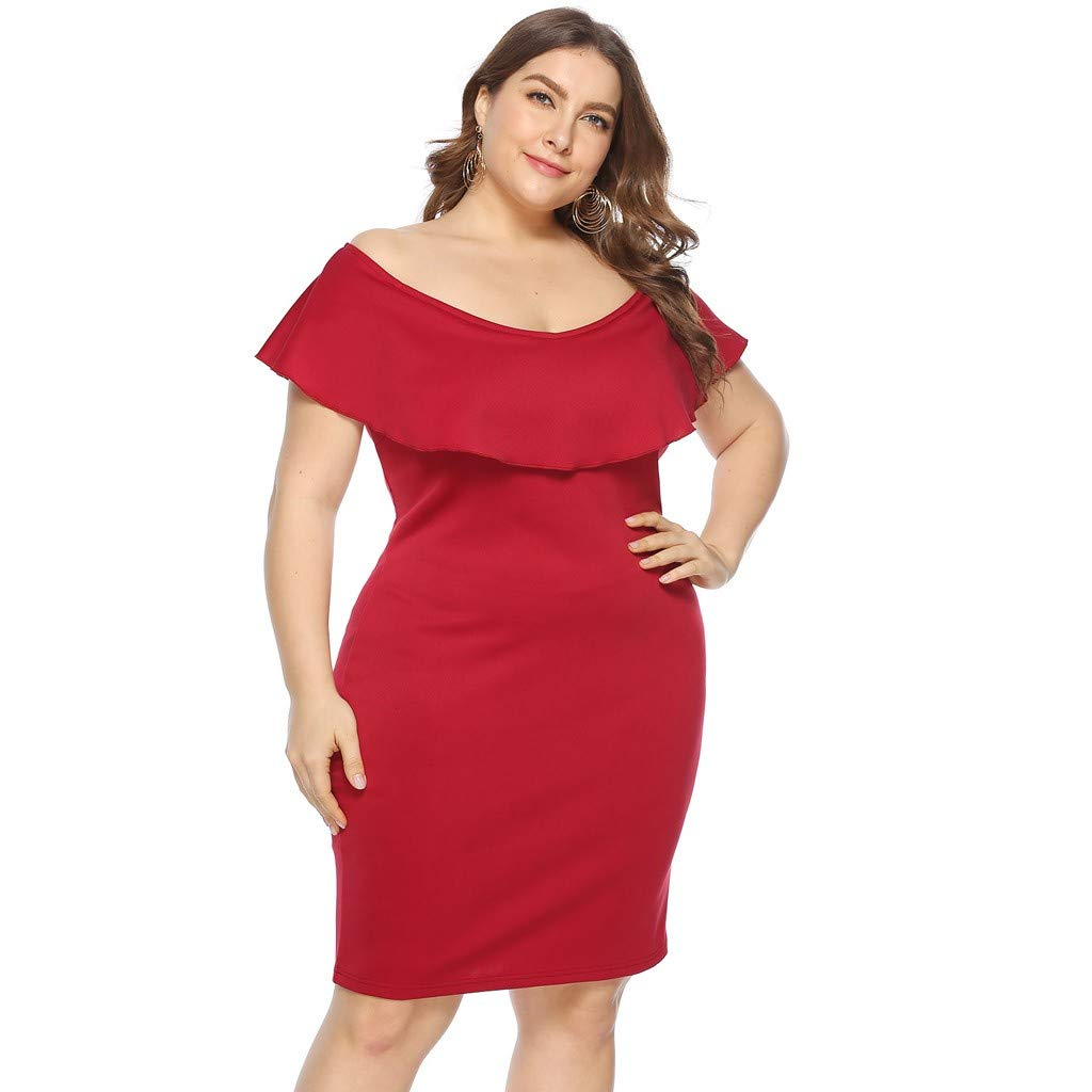 ZOMUSAR 2019 Women Plus Size Sexy Cold Shoulder Dress Solid Ruffle Pleated Mini Dress Red by ZOMUSAR (Image #1)