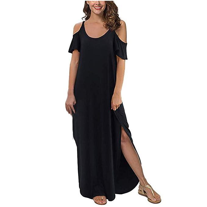 Vestido Largo Mujer SUNNSEAN Vestidos Elegantes Color Liso ...