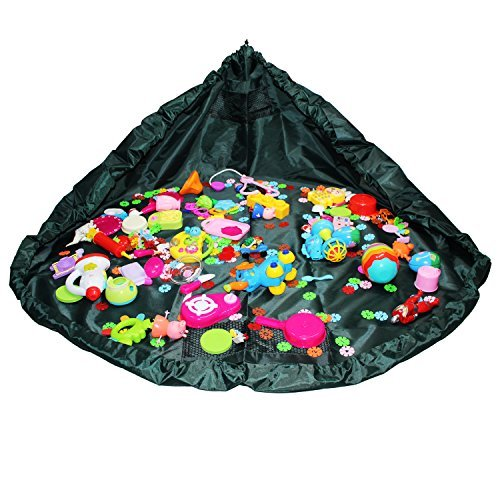 Toys Storage Bag, Childrens Play Mat and Floor Activity Mat, LJP Toys Organizer Quick Pouch-Perfect for Storing Small and Medium-Size Toys-Green
