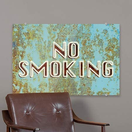 CGSignLab Ghost Aged Blue Premium Acrylic Sign No Smoking 27x18