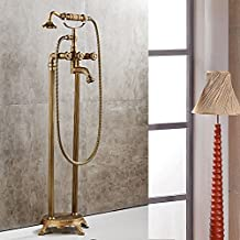 Sprinkle European Style Floor Standing Bathtub Faucet Handshower Included Antique Cooper