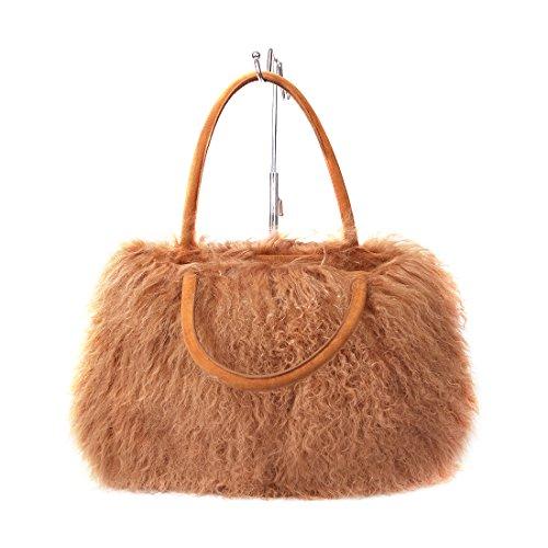 Borsa Donna A Tracolla Tote Pelliccia Chiaro Da Ursfur Lana Di Messenger Agnello In Bags Marrone HX4qdxwq