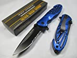 Tac-force Assisted Opening Sawback Bowie Rescue High Carbon Half Serrated Silver Stainless Steel Blade Knife – Blue