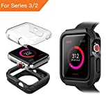 Benuo Case For Apple Watch Series 3, [Armor Series] Soft TPU Bumper w/Protective HD Clear PC Screen Protector, Ultra Thin, Replacements Cover Case for Apple Watch Series 3/Series 2/Edition/Nike+ 42mm
