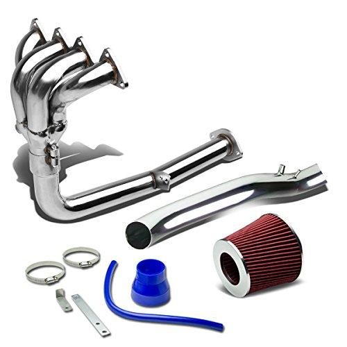 For Acura Integra DA DB 4-1 Header Exhaust Manifold+Air Intake System+Filter (Red)