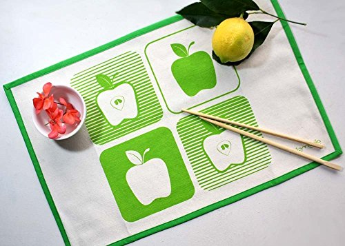 APPLE PLACEMATS set of 2 Handmade placemat set with apples screen printed in (Polyester Screen Printed)