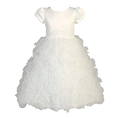 3e2a0e670 Lito Little Girls White Satin Ruffle Organza Sequin Tea Length Communion  Dress 5