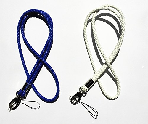Handmade Braided Lanyards PU Leather Necklace Premium Quality Neck Lanyards keychain For Camera  Cell Phone ID Badge Holder- –2 Pack (White/Dark bl…