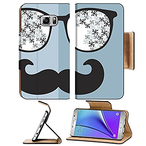 MSD Premium Samsung Galaxy Note 5 Flip Pu Leather Wallet Case Note5 IMAGE ID: 27843441 Retro sunglasses with reflection for hipster Vector illustration of accessory glasses isolated Best print (Light Wit Stand)