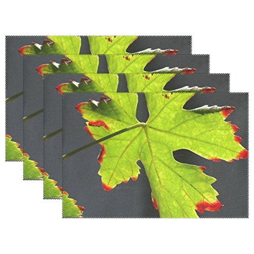 Redhead Screws - AIKENING Screw Autumn Summer Leaf Leaves Green Redhead Placemats Set Of 4 Heat Insulation Stain Resistant For Dining Table Durable Non-slip Kitchen Table Place Mats