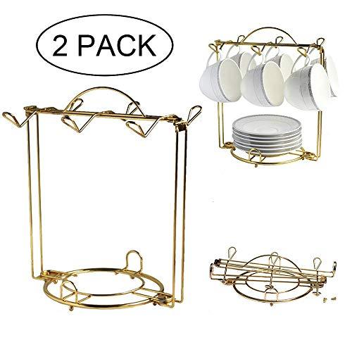 HOHIYA Tea Cup and saucer Display Rack Teacup Stand Holder Easel(Gold,pack of 2)