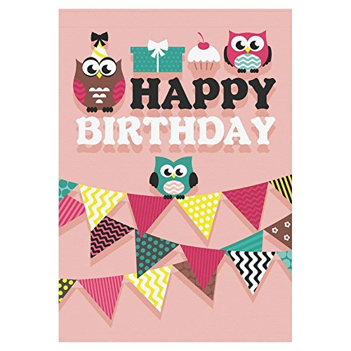 Afagahahs Happy Birthday Cake Banner Polyester Garden Flag Outdoor Banner Cartoon Cute Owl Decorative Large House Flags for Wedding Party Yard Home Decor -