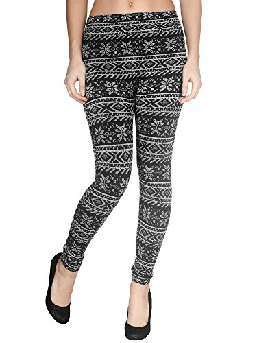 Girls' Fleece Lined Leggings Warm Tights, Striped Snowflakes/Reindeer, White, One Size