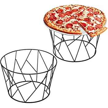 MyGift Modern Geometric Black Wire Pizza Stand, Set of 2