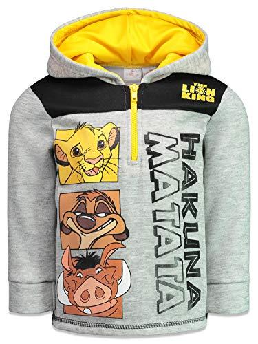 Disney Lion King Little Boys Fleece Half-Zip Pullover Hoodie, Heather Grey 7 (La Kings Clothing)