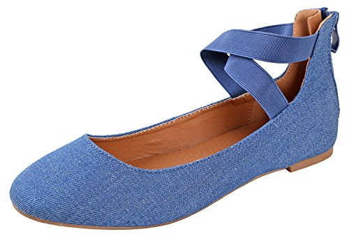 ANNA Dana-20 Women's Classic Ballerina Flats with Straps, Blue Denim 8