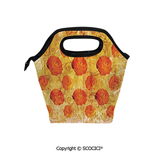 Picnic Food Insulated Cooler Tote Lunch Bag Vintage Rose Flower Pattern Grubby Paint Texture Grunge Rusty Effects Image Organizer Lunchbox for Women Men ()