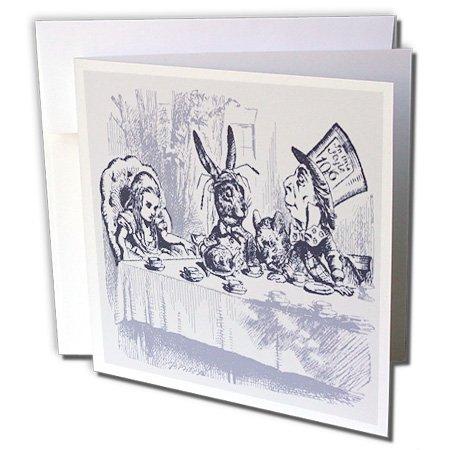 Nursery Rhymes Tea (3dRose Florene Nursery Rhymes And Fairytales - Image of Mad Hatters Tea Party In Vintage Blue - 12 Greeting Cards with envelopes (gc_245085_2))