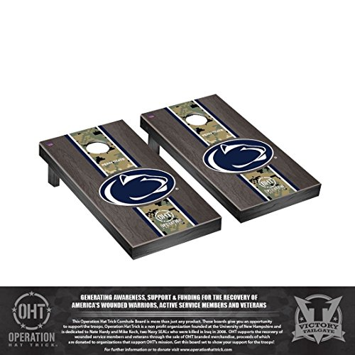 Victory Tailgate Operation Hat Trick Penn State PSU Nittany Lions Regulation Cornhole Game Set Onyx Stained Stripe - Bag Collegiate Lions Bean Nittany