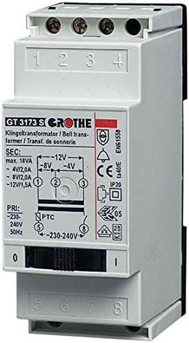 2//2//1,5A Klingeltransformator 4011459140830 Grothe Transformator m.Netzschalt GT 3173 S 4//8//12VAC