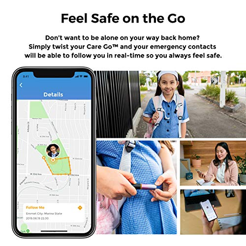 Alphahom Care Go Personal Alarm, Smart Personal Safety Alarm, Emergency One to Many Alert and Real-time GPS Location via…