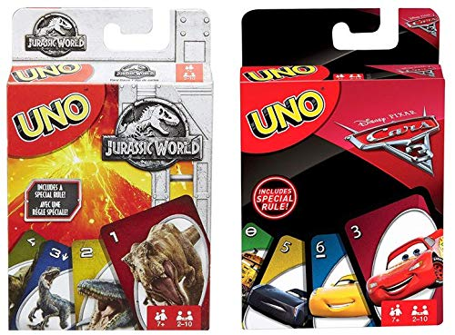 Jurassic World Uno and Disney Cars 3 Uno 2 Pack