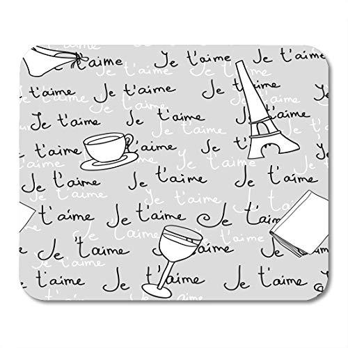 Nakamela Mouse Pads Glasses Black France Paris Je T'Aime White Nice Graphic Mouse mats 9.5