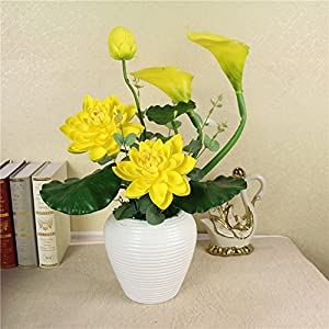 FYYDNZA Whole Floral Emulation Flower Suit Flower Home Living Room Silk Flower Decorative Flower Potted Whole,Yellow 84