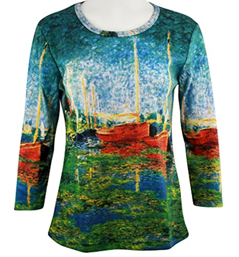 Breeke - Red Boats in Argenteuil, Scoop Neck, Hand Silk Screened 3/4 Slv Art Top (Silk Cotton Boat Neck)