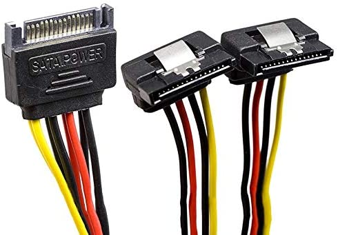 2 Pac Calvas Best SATA 15-Pin Male to 2 x 15-Pin 90 degrees Female SATA 15Pin 1 to 2Power Extension Y Splitter Cable Adapter 7Inch,