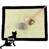 Cat Scratch Mat - Cat Bed Scratcher and Rest + Catnip + Cat Rod - Natural Sisal Cat Scratching Post Mat - Play Pad for Cat Tree - Size - 16X12 IN