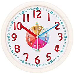 TXL Kids Wall Clock Baby Nursery Large 12 Wall Clock in Kid's Room Clock Bedroom Silent Non Ticking Analog Quartz Home Colorful Read Learn Time for Unisex Kid Room/Nursery Playroom/School(Beige)
