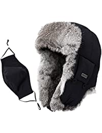 Unisex 100% Rabbit Fur Trapper Ushanka Russian Hat Nylon Shell Windproof