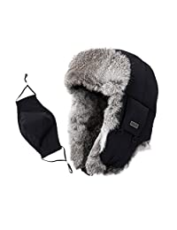 SIGGI 100% Rabbit Fur Trapper Ushanka Russian Hat Nylon Shell Waterproof Unisex